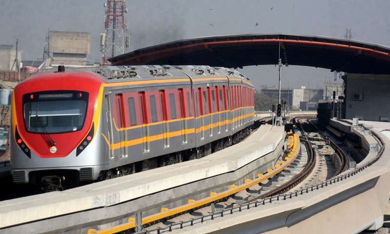 Photo taken on Nov. 8, 2020 shows an Orange Line metro train leaving a station in Pakistan's eastern city of Lahore.(Photo: Xinhua)