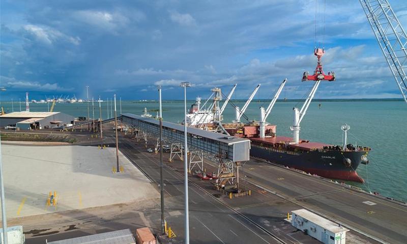 Photo taken on March 14, 2017 shows a bird's eye view of Darwin Port's cargo wharf in Australia. Photo: Xinhua