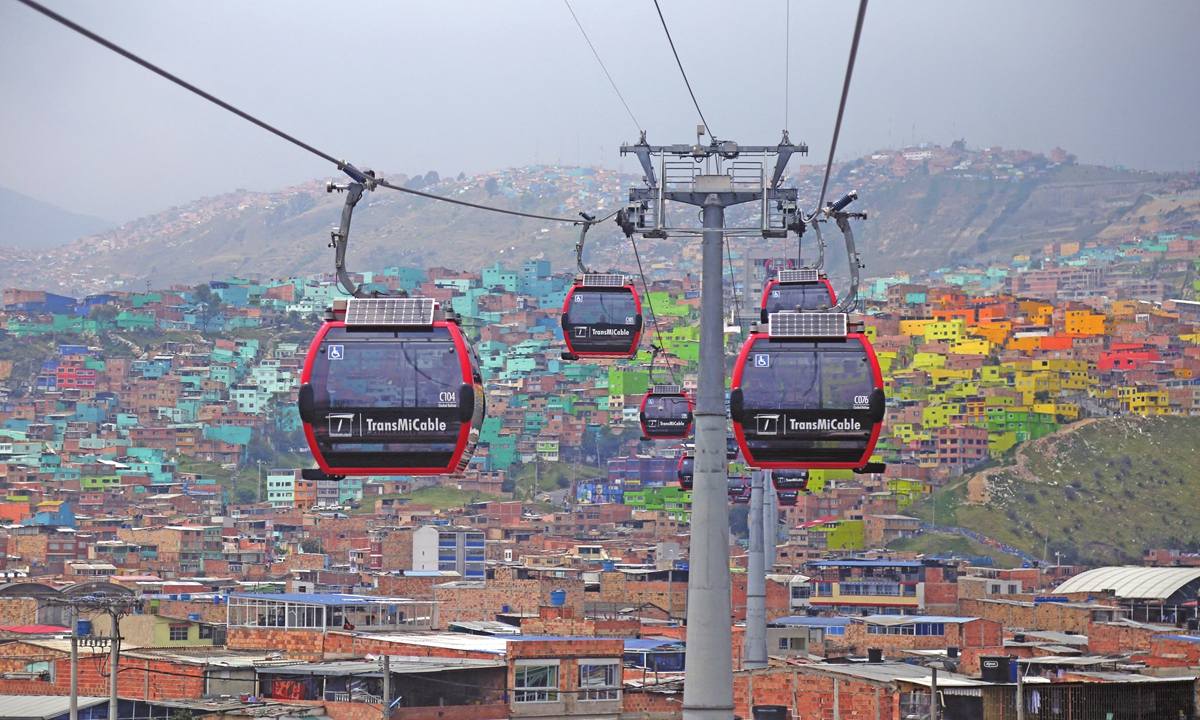 Cable cars are seen in Bogota, Colombia, on March 19, 2020.  Photo: AFP