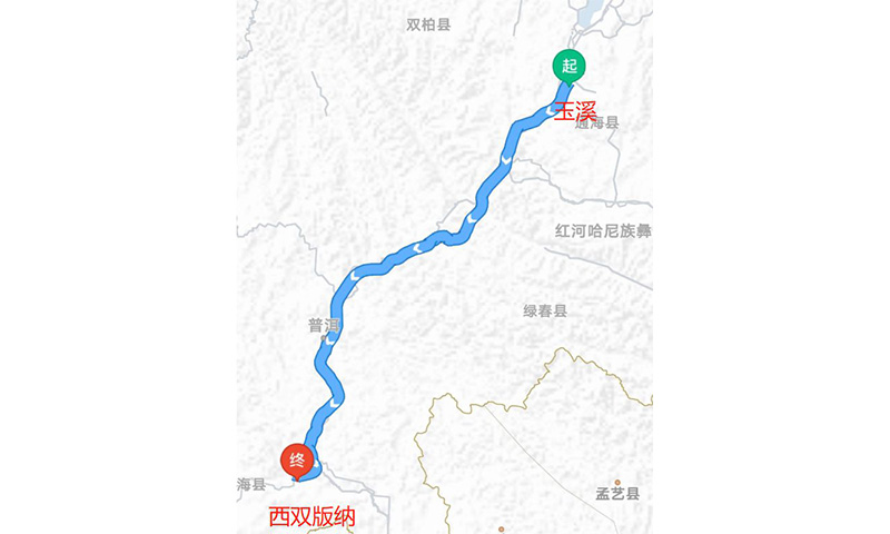The route of the Asian elephants was marked by a netizen. Photo: Weibo