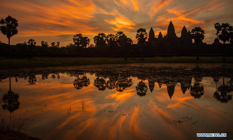 Photo taken on May 21, 2021 shows a view of the Angkor archeological park in Siem Reap, Cambodia. Located in Siem Reap province, the Angkor Archeological Park, inscribed on the World Heritage List of the United Nations Educational, Scientific and Cultural Organization (UNESCO) in 1992, is the kingdom's most popular tourist destination.Photo:Xinhua