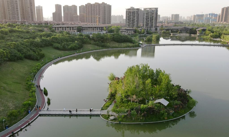 Aerial photo taken on May 25, 2021 shows the view of a city park in Xi'an, northwest China's Shaanxi Province. Photo: Xinhua