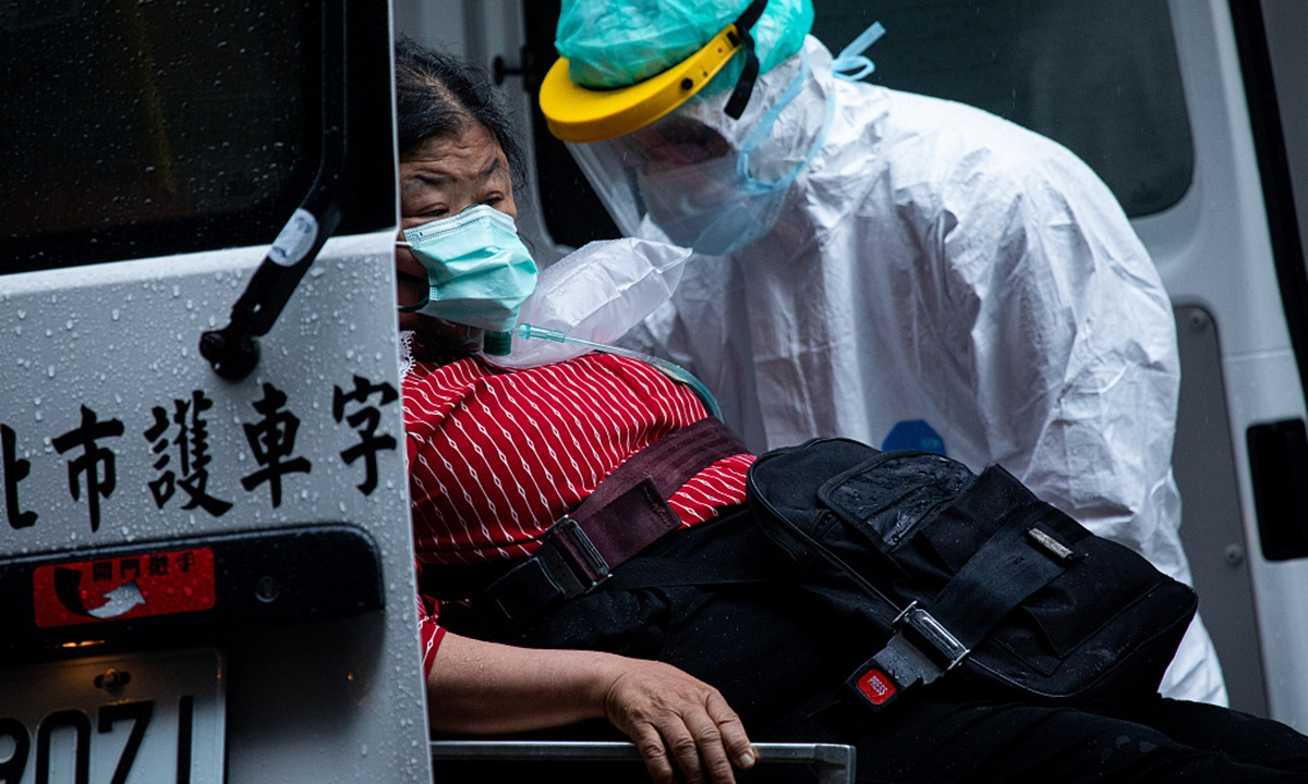 Medical workers wearing protective suits seen transferring a covid-19 patient from a quarantine centre in Taipei, island of Taiwan, on May 30. Photo: VCG