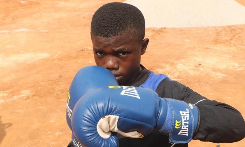 Photo taken on April 24, 2021 shows Sultan Adekoya in training in Lagos, Nigeria.(Photo: Xinhua)