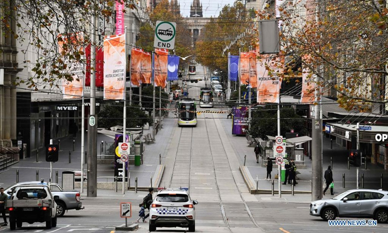 Photo taken on May 28, 2021 shows an empty street in Melbourne, Australia. The Australian state of Victoria went into the fifth day of its lockdown on Tuesday with the number of COVID-19 cases in the latest outbreak having risen to 54.Photo:Xinhua