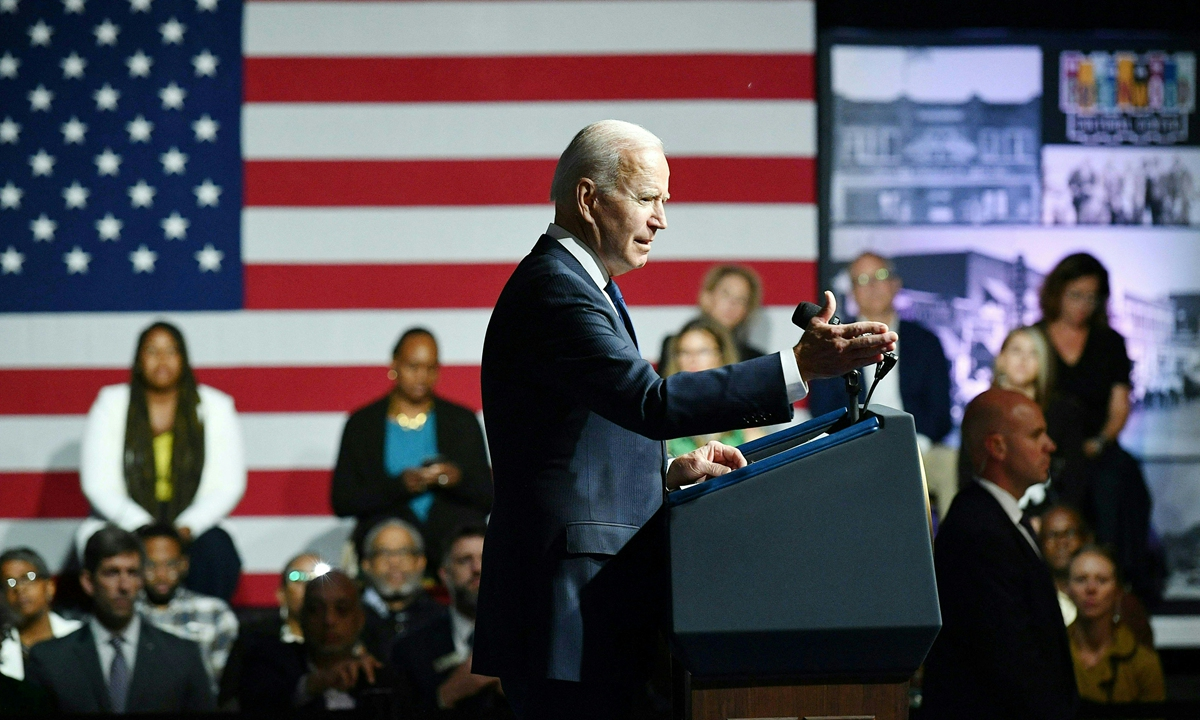 US President Joe Biden speaks during a commemoration of the 100th anniversary of the Tulsa Race Massacre at the Greenwood Cultural Center in Tulsa, Oklahoma on Tuesday. Photo: AFP
