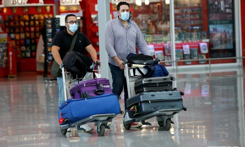 Passengers arrive at the International Airport of Algiers, Algeria, on June 1, 2021. Algeria on Tuesday partially reopened air travel for the first time. Algeria started closing its borders from March 2020 in order to halt the spread of COVID-19.(Photo: Xinhua)
