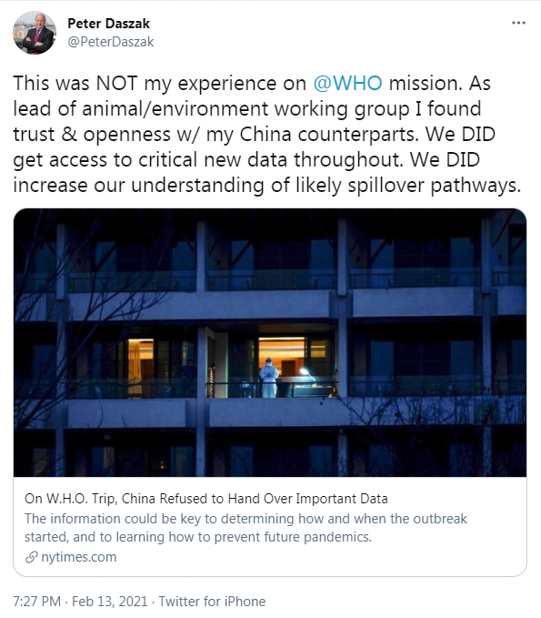 Screenshot shows British zoologist Peter Daszak, a member of the WHO team misquoted by the U.S. media, clarifying via Twitter that a report published by The New York Times on Feb. 12, 2021 deliberately distorted and garbled the remarks by members of a WHO expert team sent to China on a COVID-19 origin-tracing mission.
