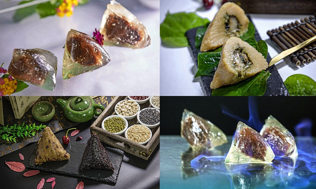Combo photo taken on June 25, 2020 shows Zongzi, a sticky rice dumpling wrapped up with bamboo or reed leaves, in Hepu County, south China's Guangxi Zhuang Autonomous Region. (Xinhua/Zhang Ailin)