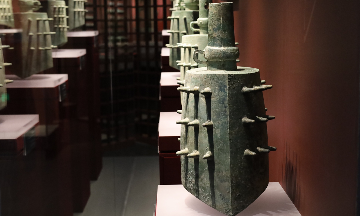 Ancient bian zhong, or chime bells, on display at a museum in Hubei Province Photo: IC