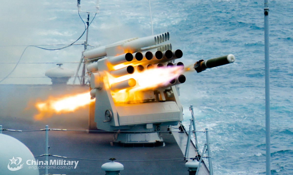 A vessel attached to a destroyer flotilla with the navy under the PLA Eastern Theater Command fires jamming bombs during a four-day-long realistic-combat training exercise in waters of the South China Sea. Photo:China Military