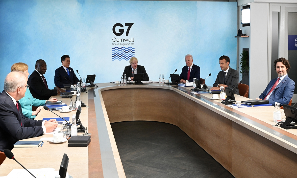 A working session of the G7 summit is held on June 12. Photo: AFP