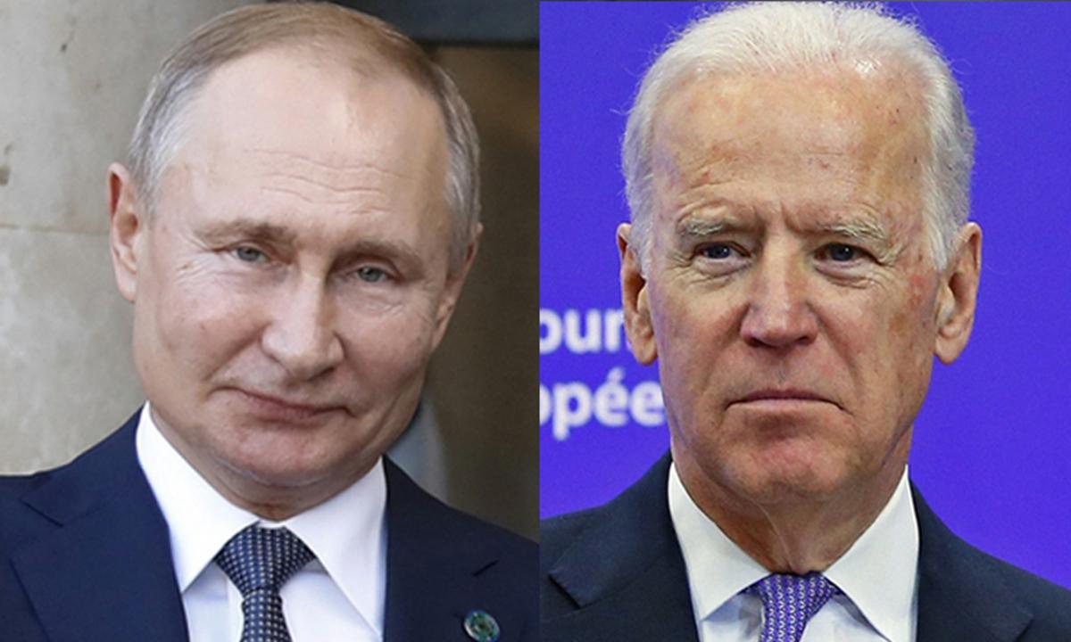 Xinhua file photos of Russian President Vladimir Putin (L) and US President Joe Biden (R)