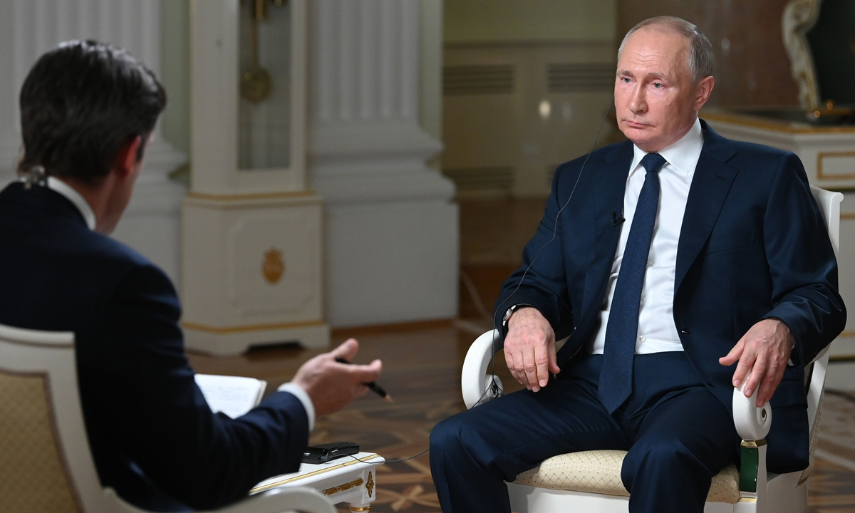 Russian President Vladimir Putin gives an interview to NBC at the Kremlin in Moscow on Monday (Russian time). Over the last few years, China and Russia have developed a strategic partnership relationship that previously had not been achieved in history, a high level of trust and cooperation in all areas, Putin said in response to questions about China. Photo: VCG
