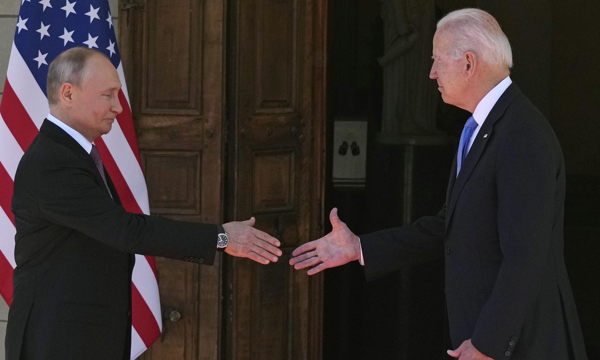 US President Joe Biden and Russian President Vladimir Putin arrive to meet at the Villa la Grange on Wednesday in Geneva, Switzerland. Photo: AP