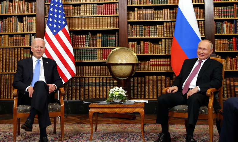 U.S. President Joe Biden (L) and Russian President Vladimir Putin meet at the Villa La Grange in Geneva, Switzerland, June 16, 2021.(Photo: Xinhua)