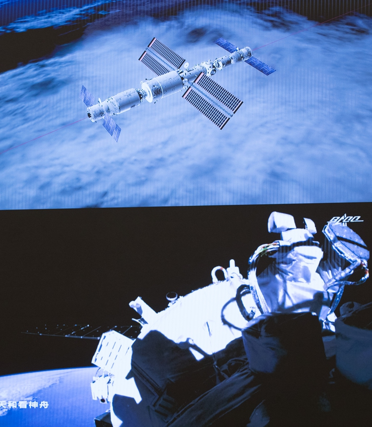 The Shenzhou-12 manned spacecraft and the Tianhe core module complete the rapid autonomous rendezvous and docking. Photo: Xinhua