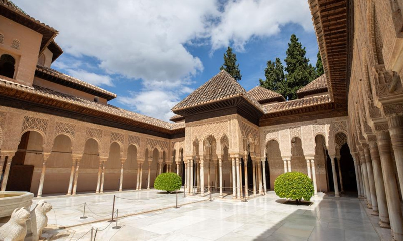 Photo taken on June 17, 2021 shows a view of the Alhambra Palace in Granada, Spain. The Alhambra Palace is a fortress complex located in Granada, Andalusia, Spain. It was inscribed onto the world heritage list in 1984 by UNESCO. Photo: Xinhua