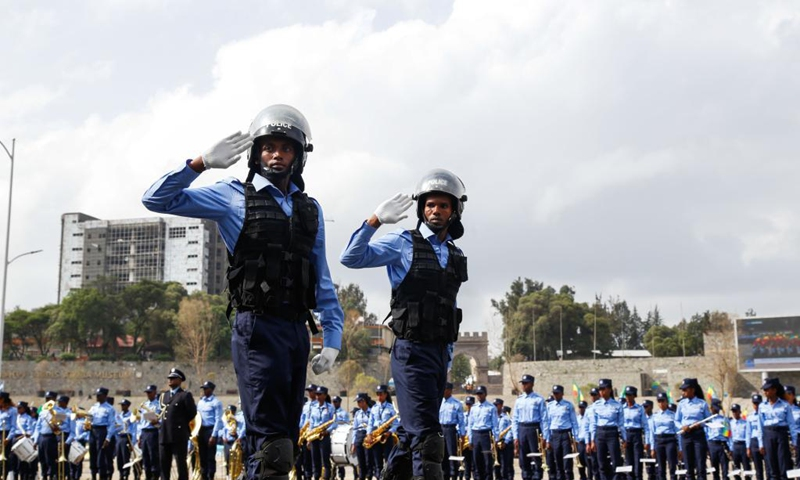 Addis Ababa city police officers are seen during a parade to present the new logo and uniforms of Ethiopian police force at Meskel Square in Addis Ababa, Ethiopia, June 19, 2021.(Photo: Xinhua)