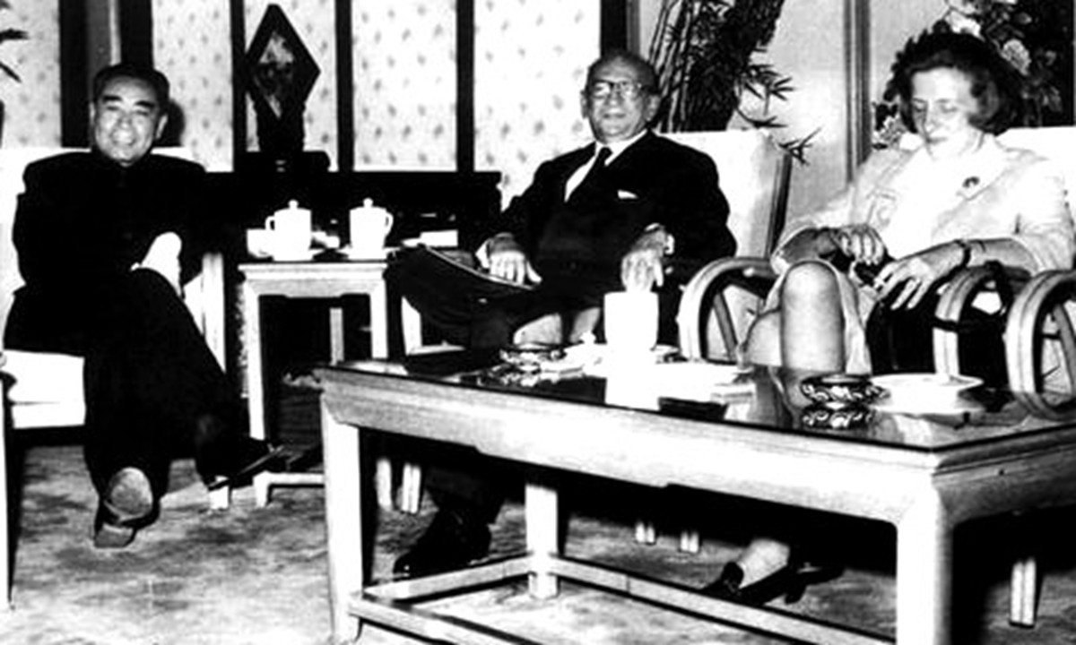 Premier Zhou Enlai meets with Edgar Faure (middle), former French Prime Minister and representative of French President Charles de Gaulle in October 1963.