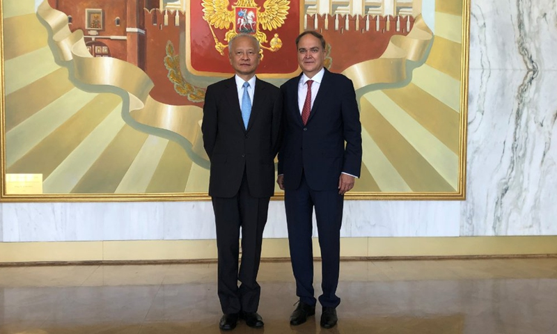Chinese Ambassador to US Cui Tiankai (left) meets with Russian Ambassador to US Anatoly Antonov on Monday.  Photo: Twitter of Russian Embassy to US