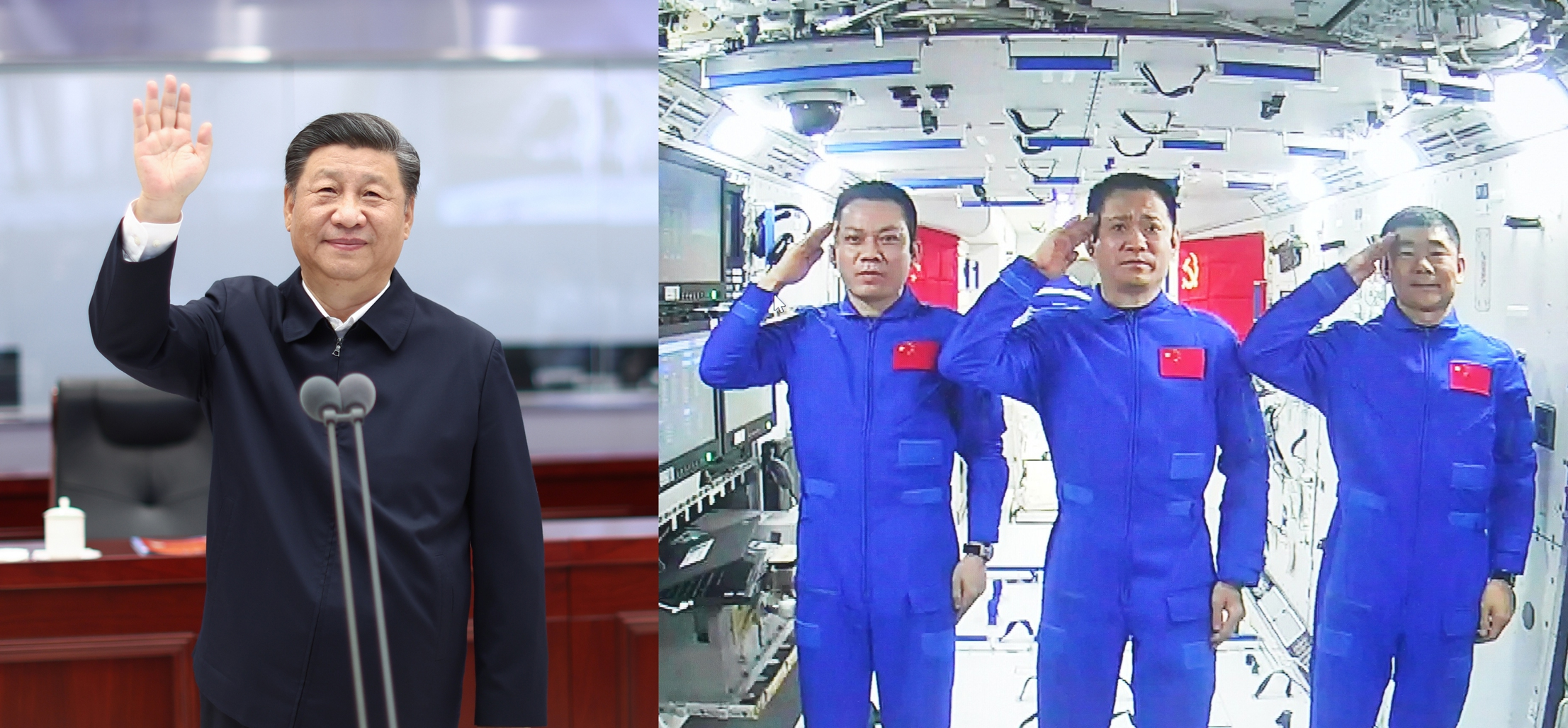Chinese President Xi Jinping at the Beijing Aerospace Control Center waves to three taikonauts (from left) Tang Hongbo, Nie Haisheng and Liu Boming stationed in the country's space station core module Tianhe on Wednesday. Photo: Xinhua