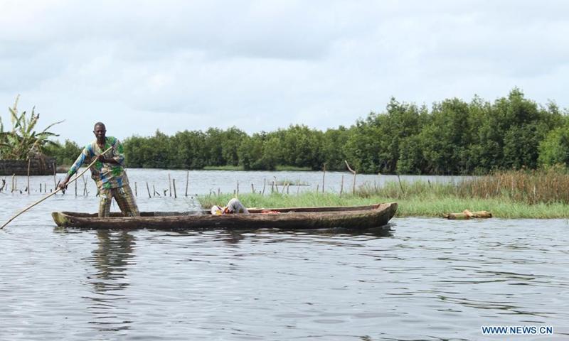 A man rows in a flooded field in the village of Djegbadji, in Ouidah, Benin, June 21, 2021.(Photo: Xinhua)