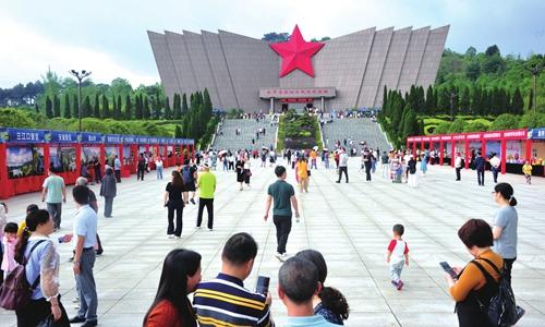 Tourists visit the Red Army Long March Xiangjiang Battle Memorial Hall in Quanzhou, South China's Guangxi Zhuang Autonomous Region, May 3, 2019.  Photo: cnsphoto
