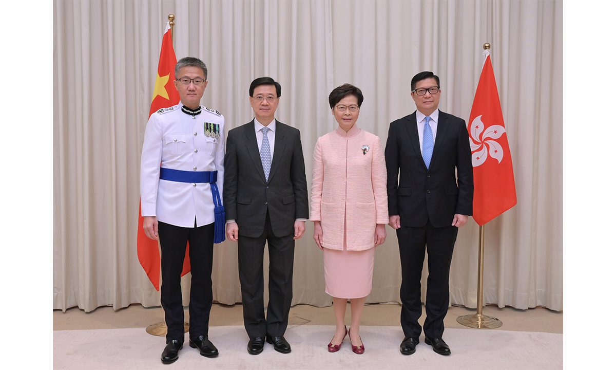 (From left) Police Commissioner Raymond Siu, Chief Secretary for Administration John Lee, Chief Executive Carrie Lam and Secretary of Security Chris Tang Photo: cnsphoto
