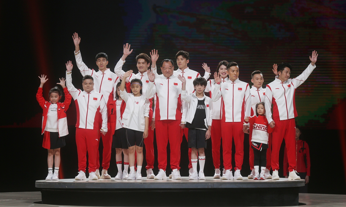 China reveals the outfit to be used by Chinese athletes who win medals at the Tokyo Olympics on Friday in Beijing.  Chinese brand Anta sponsored the outfit, which uses a stand-up collar and special buckle of traditional Chinese attire. Photo: Cui Meng/GT