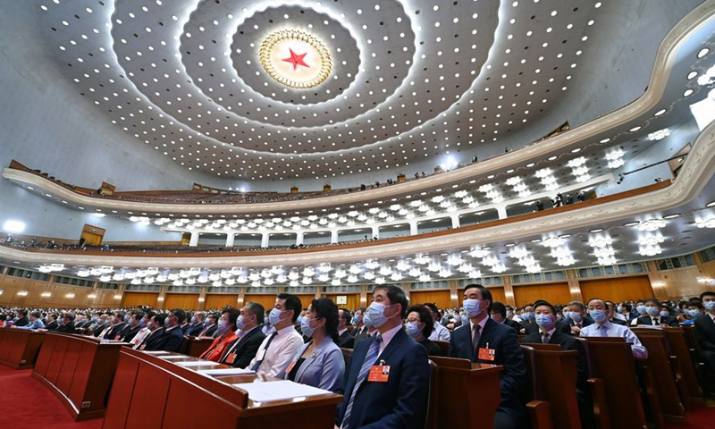 The closing meeting of the third session of the 13th National Committee of the Chinese People's Political Consultative Conference (CPPCC) is held at the Great Hall of the People in Beijing, capital of China, May 27, 2020.Photo:Xinhua