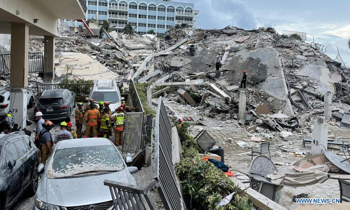 Photo released by the Miami-Dade Fire Rescue on June 25, 2021 shows first responders rescuing survivors from a partially collapsed residential building in Miami-Dade County, Florida, the United States. (Miami-Dade Fire Rescue/Handout via Xinhua)