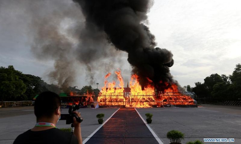 Seized drugs are burnt in Yangon, Myanmar, June 26, 2021. Myanmar ceremonially incinerated seized narcotic drugs in the cities of Yangon, Mandalay and Taunggyi on Saturday, marking the International Day against Drug Abuse and Illicit Trafficking. (Photo: Xinhua)