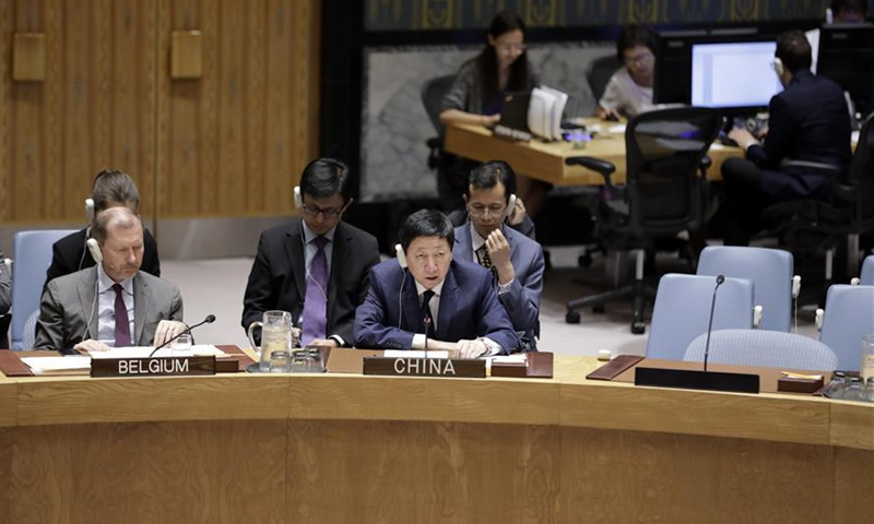 Wu Haitao (R, front), China's deputy permanent representative to the United Nations, addresses the Security Council's meeting on the situation in Ukraine, at the UN headquarters in New York, July 16, 2019. Wu Haitao said Tuesday that China has always held an objective position on the issue of Ukraine, noting the United Nations Security Council should play a constructive role in this regard. (Photo:Xinhua)