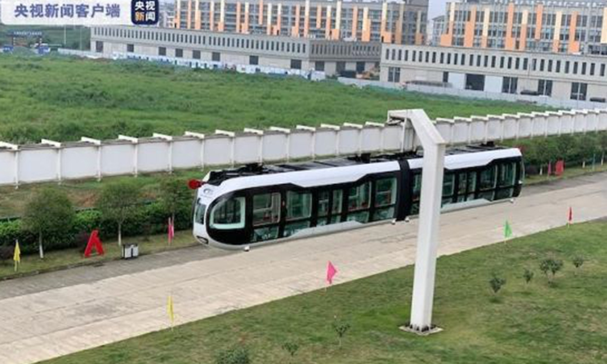 The air-rail vehicle is in operation. Photo: China Central Television (CCTV)