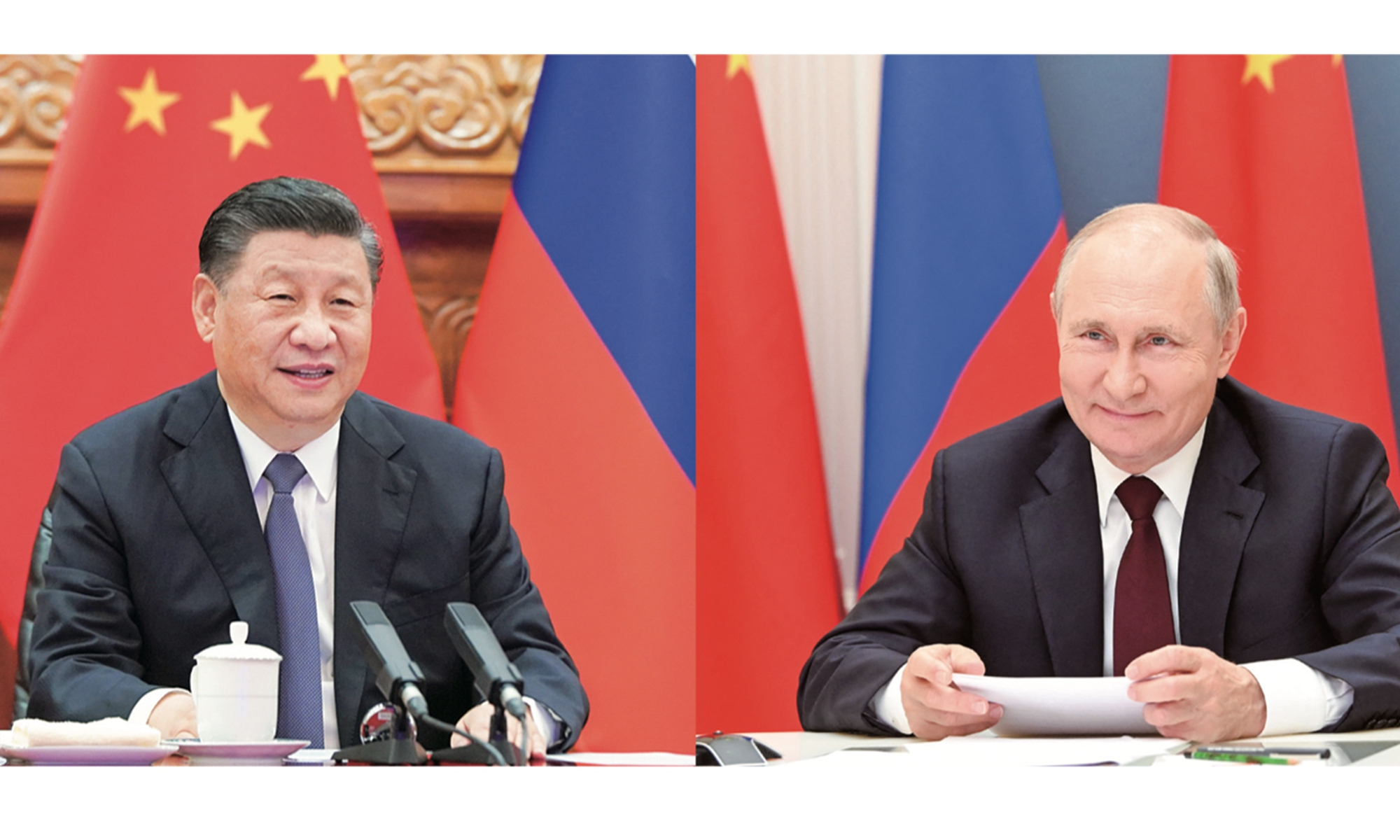 Chinese President Xi Jinping and Russian President Vladimir Putin hold talks via video link on Monday. The two leaders issued a joint statement during the event, officially deciding to extend the China-Russia Treaty of Good-Neighborliness and Friendly Cooperation. Photos: Xinhua, AFP