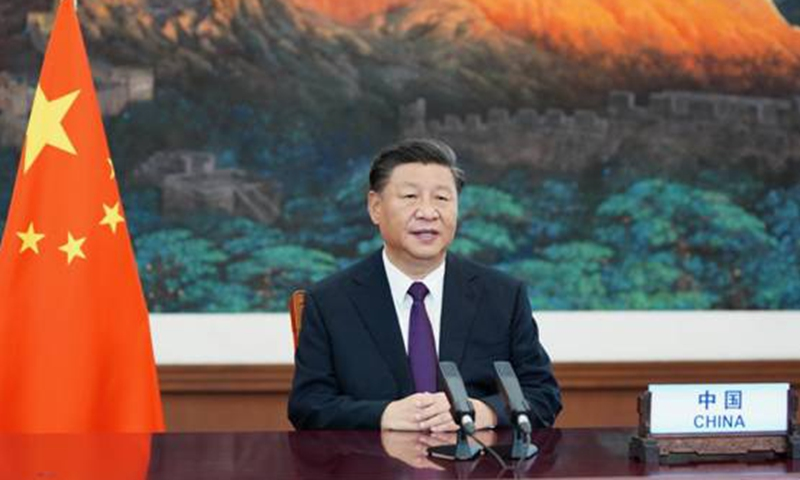 President Xi Jinping addressing the High-level Meeting to Commemorate the 75th Anniversary of the UN via video link in 2020