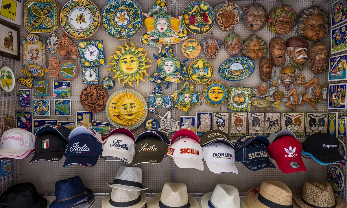 The window of a shop selling typical Sicilian products on June 22 in Taormina, Italy. Photo: VCG