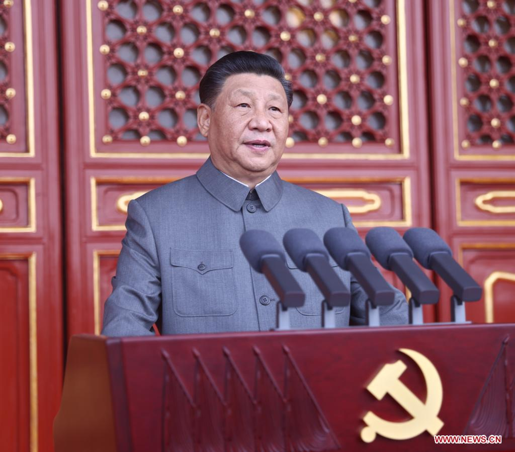 Xi Jinping, general secretary of the Communist Party of China (CPC) Central Committee, Chinese president and chairman of the Central Military Commission, delivers an important speech at a ceremony marking the centenary of the CPC in Beijing, capital of China, July 1, 2021. (Xinhua/Ju Peng)