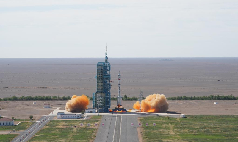 The crewed spacecraft Shenzhou-12, atop a Long March-2F carrier rocket, is launched from the Jiuquan Satellite Launch Center in northwest China's Gobi Desert, June 17, 2021. (Xinhua/Li Gang)