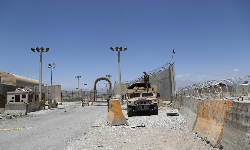 Photo taken on July 2, 2021 shows the gate of Bagram Airfield after all U.S. and NATO forces evacuated in Parwan province, eastern Afghanistan. All U.S. and NATO forces in Afghanistan have evacuated the Bagram Airfield near the Afghan capital Kabul, handing over the largest coalition base to the Afghan government troops, a spokesperson of the Afghan Defense Ministry confirmed on Friday.Photo:Xinhua