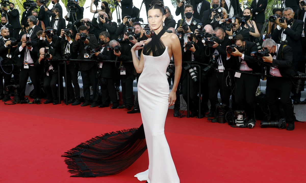 Model Bella Hadid poses for photos at the Cannes film festival in France on Tuesday. Photo: IC