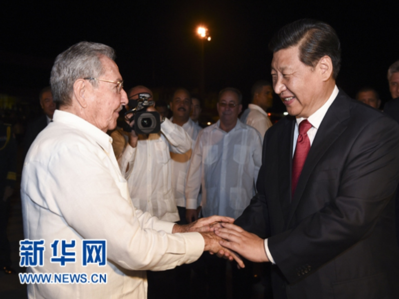 On July 23, 2014, President Xi Jinping concludes his visit to Cuba. Raúl Castro bid him farewell at the airport.