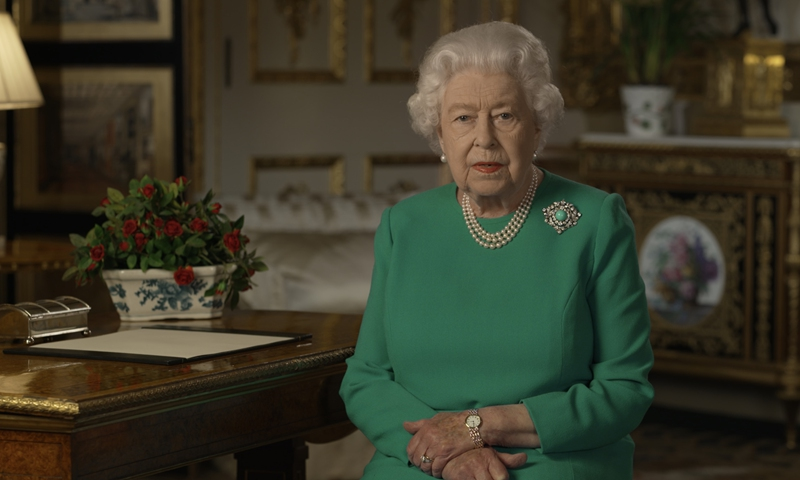 Britain's Queen Elizabeth II records her address to the UK and the Commonwealth in relation to the coronavirus outbreak at Windsor Castle, west of London on Sunday. Photo: AFP