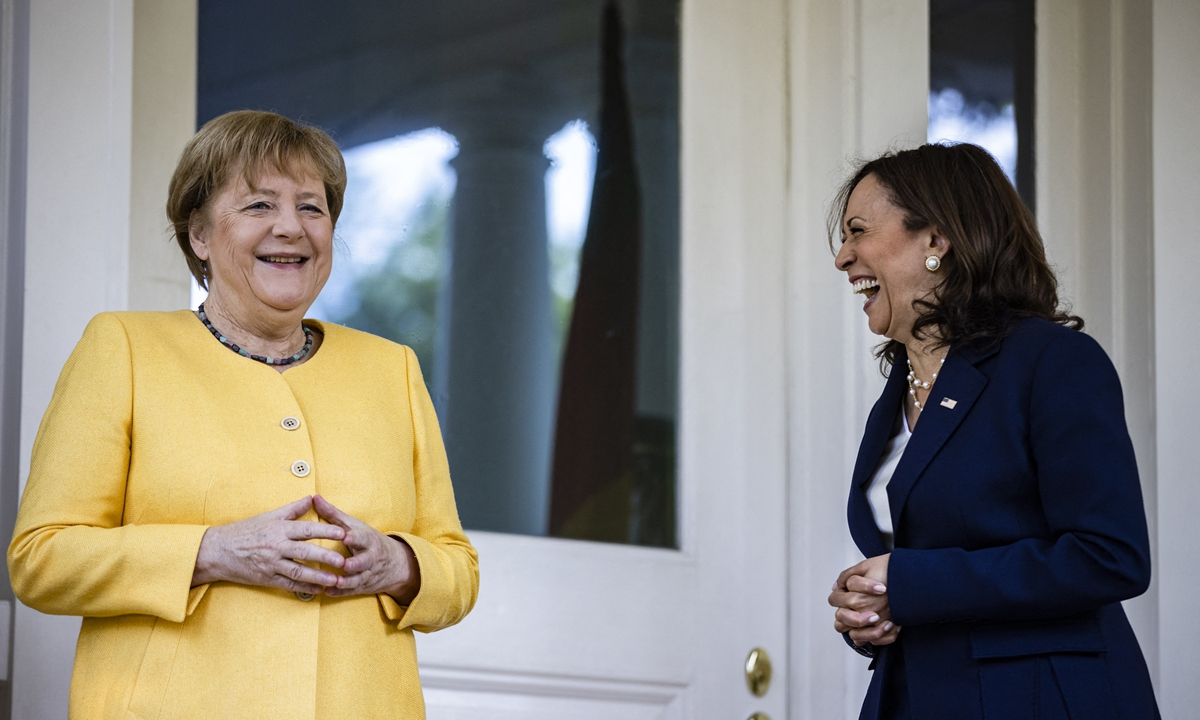 US Vice President Kamala Harris welcomes German Chancellor Angela Merkel to the Vice President's residence at One Observatory Circle for a working breakfast on Thursday. The potentially most eye-catching item on their agenda is the Nord Stream 2 gas pipeline that links Russia to Germany, as the project was sanctioned by the US. Photo: AFP