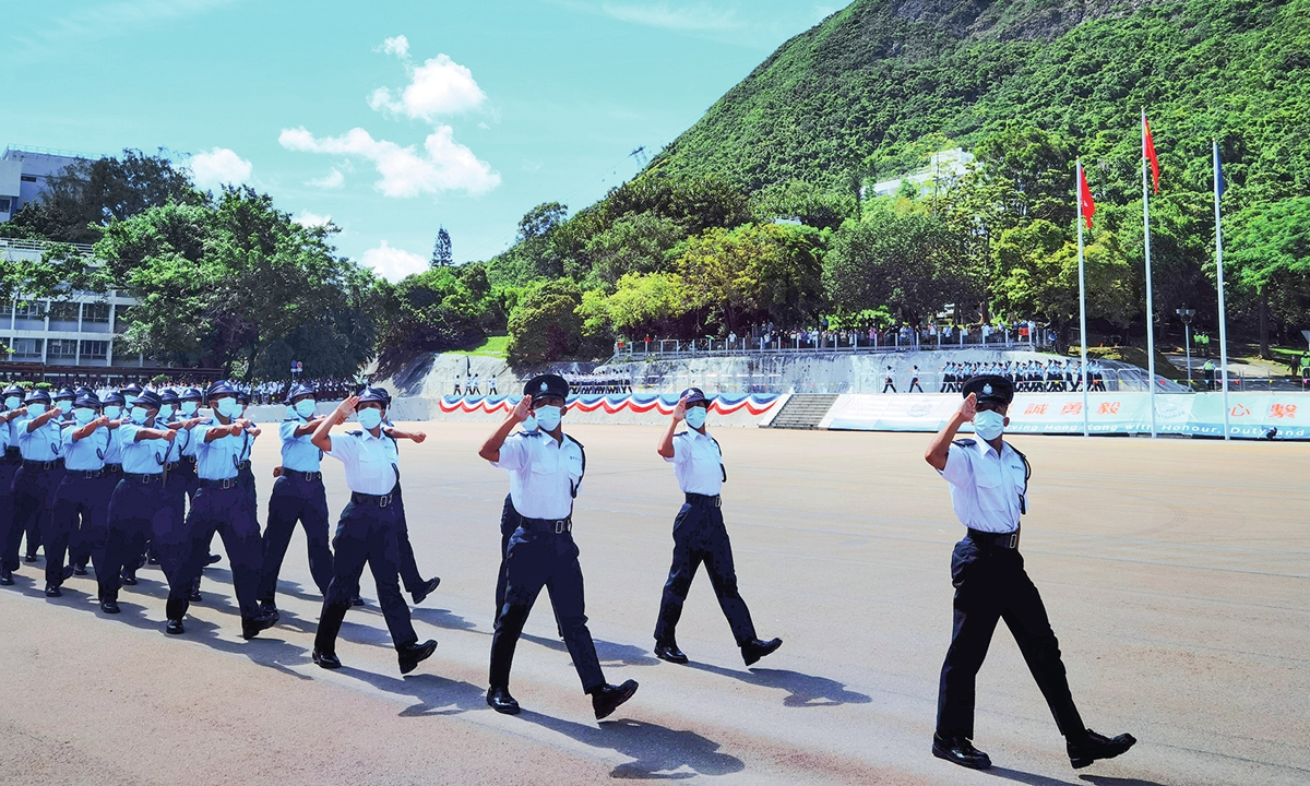 Hong Kong Police College holds a graduation parade on July 10 with Chinese-style military formations Photo: Xinhua