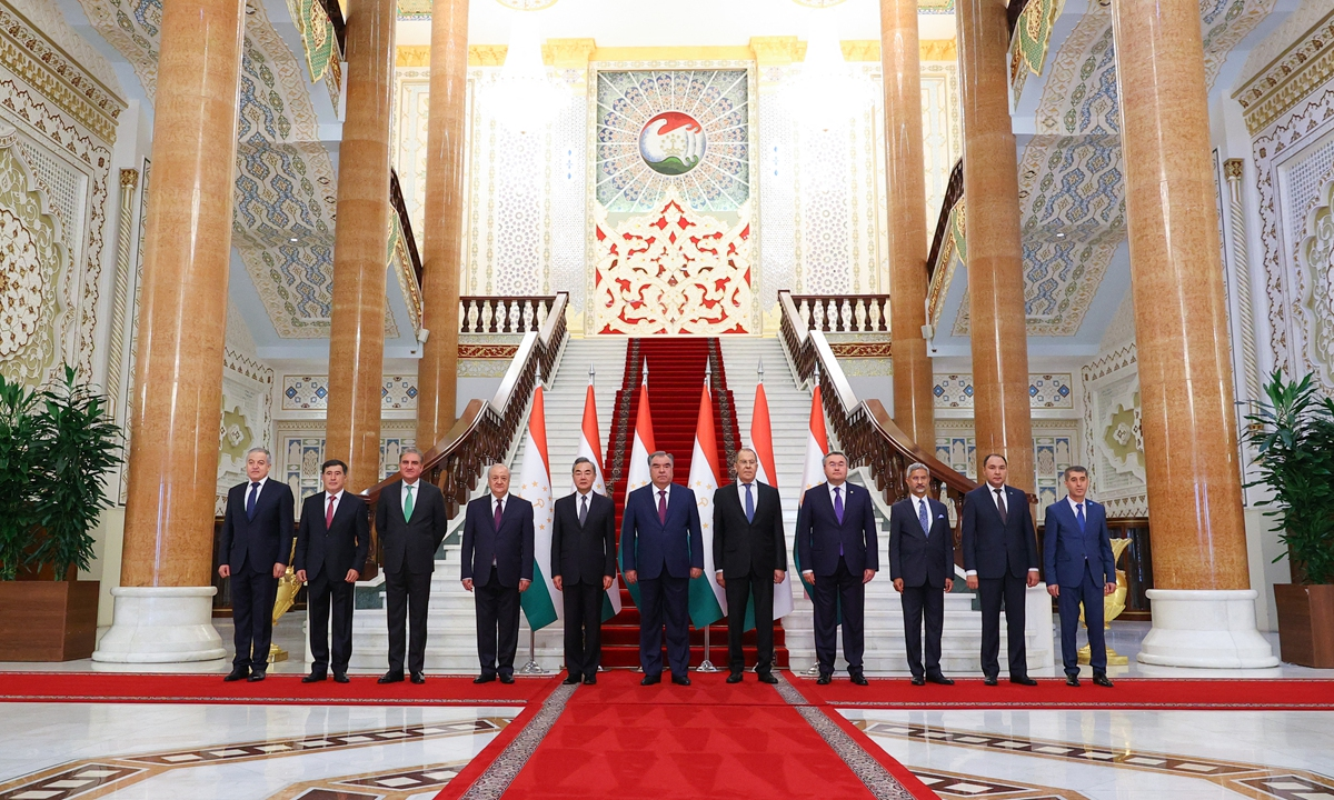 Foreign ministers and officials of the Shanghai Cooperation Organization pose for a photo at a meeting in Dushanbe, Tajikistan. The security situation in Afghanistan dominated the meeting. Photo: AFP