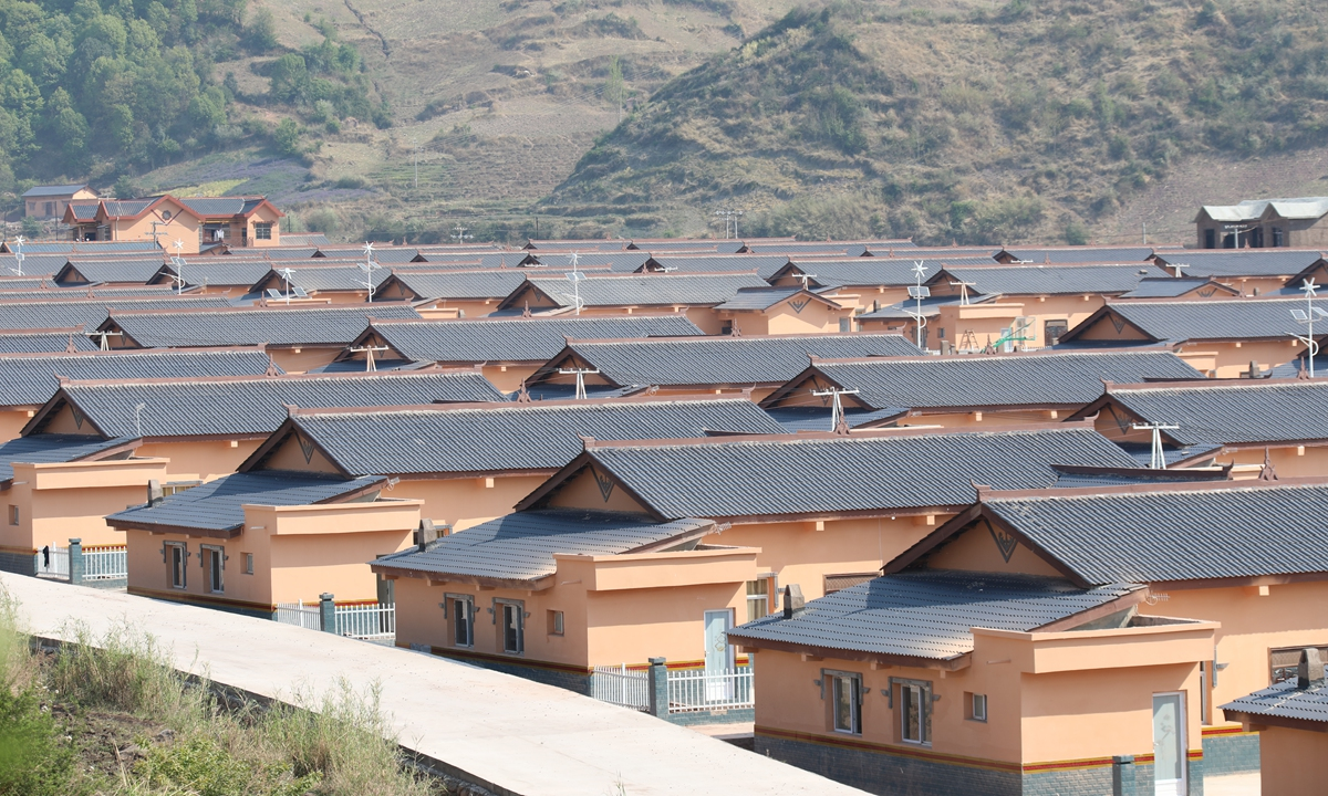 A view of the new houses in Jiajiago village built by China Three Gorges Corp Photo: Courtesy of China Three Gorges Corp