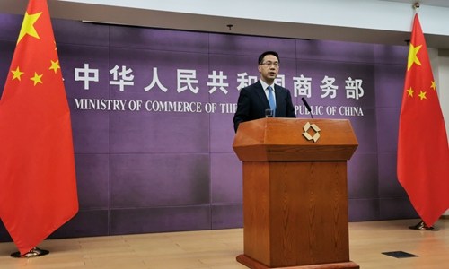 Gao Feng, spokesperson for China's Ministry of Commerce, at a press conference in Beijing on Thursday Photo: Yin Yeping/GT