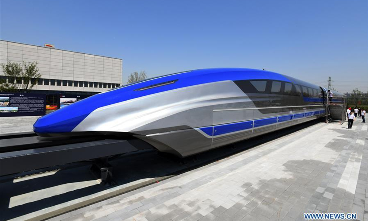 Photo taken on May 23, 2019 shows China's first high-speed maglev train testing prototype in Qingdao, east China's Shandong Province. China on Thursday rolled off the production line a prototype magnetic-levitation train with a designed top speed of 600 km per hour in the eastern city of Qingdao.(Xinhua/Li Ziheng)